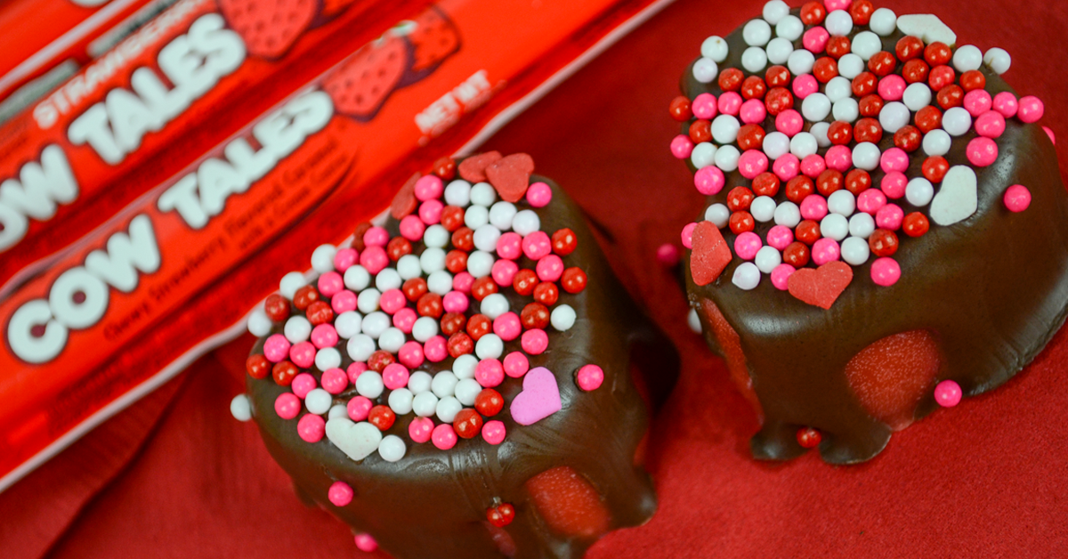 Valentine's Day Recipe: Candy Strawberry Hearts Dipped in Chocolate - Strawberry Cow Tales®
