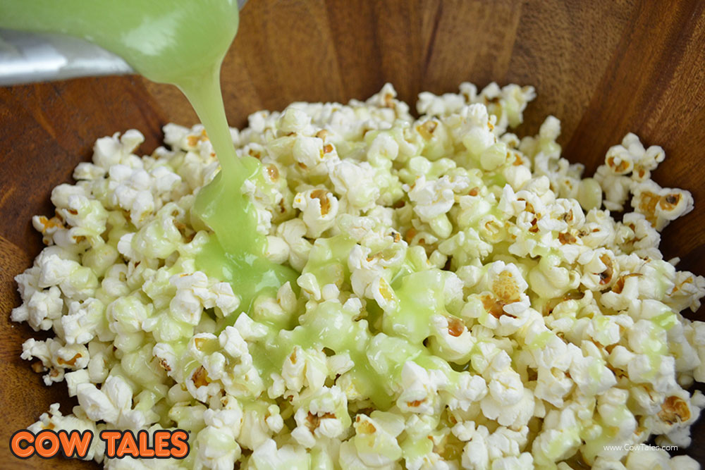 Recipe: Homemade Caramel Apple Popcorn Snack. Sweet & Sour! So good! Made with Caramel Apple Cow Tales and freshly popped popcorn.