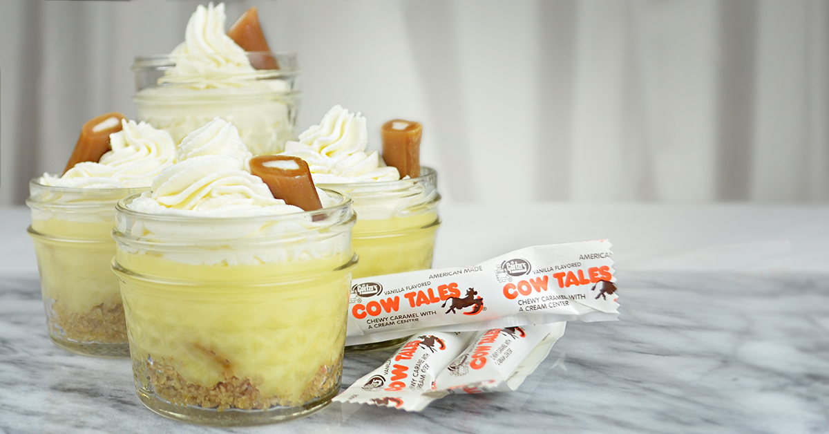 Caramel Vanilla Pudding Cups Recipe - Graham Cracker Crust, Whipped Cream, Cow Tales Caramel Bits